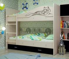 Мая-сафари Кровать двухъярусная с ящиками