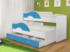 Кровать Матрешка-радуга голубой