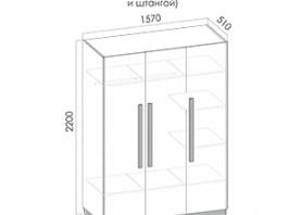 Нега Ш3 (штанга+полки) шкаф 3-х створч.