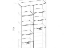Карбон ШК шкаф книжный