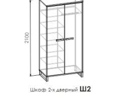 Карбон Ш2 шкаф 2-х створчатый
