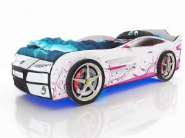 Kiddy Белый - розовая лоза Кровать-машина