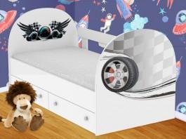Гонки Кроватка с ящиками и бортиком