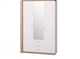 Люмен №15 Шкаф для одежды с ящиками 3-х дверный с зеркалом