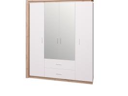 Люмен №16 Шкаф для одежды с ящиками 4-х дверный с зеркалом
