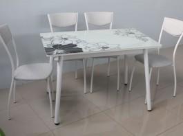Линда-2 Стол обеденный черно-белый