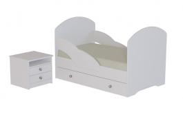 Кровать Белая с тумбой
