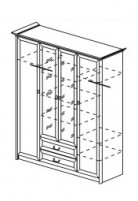 Янна ЯН-06 Шкаф 4-х створчатый с зеркалом