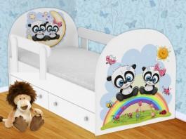 Панды Кроватка с ящиками и бортиками