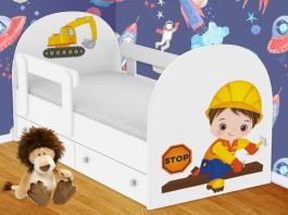 Строитель Кроватка с ящиками и бортиками
