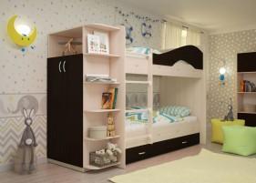 Мая Кровать двухъярусная со шкафом