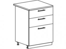 Ксения ШН3Я 600 шкаф нижний с 3 ящиками