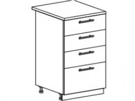 Ксения ШН4Я 500 шкаф нижний с 4 ящиками