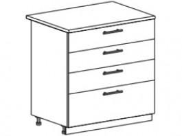 Ксения ШН4Я 800 шкаф нижний с 4 ящиками